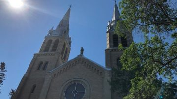 Saskatchewan Roman Catholic bishops announced plans to revive fundraising efforts for residential school survivors. It's unclear whether they'll pause the $17-million fundraising campaign for renovations to Regina's Holy Rosary Cathedral (above) while the survivor funds are raised, as some have demanded. (Richard Agecoutay/CBC)